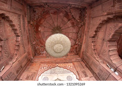 Red sandstone designs in the celing of the Hindu temple, Jama Ma