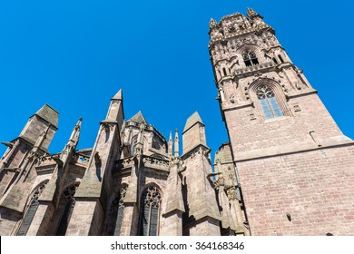 Red sandstone Rodez Cathedral (Cathedrale Notre-Dame de Rodez) in Aveyron department of Midi Pyrenees, France