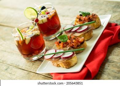 red sangria and bruschetta