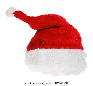 red Santa Claus hat on white background