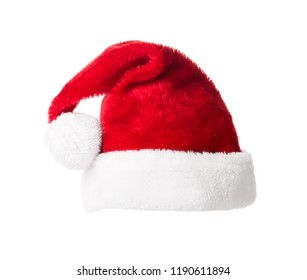 Red Santa Claus helper hat isolated on white background. Christmas and New Year celebration