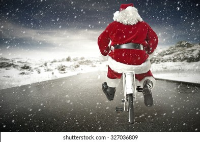 red santa claus and road