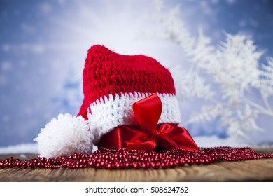 Red Santa hat, Holiday Christmas background