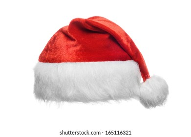 Red santa hat, isolated on white