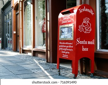 Red Santa mail box in the streets of Reykjavik.