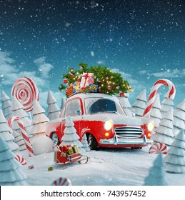 Red Santa's car with gift boxes and christmas tree on the top in a magical forest. Merry Christmas and a Happy New Year concept. Unusual christmas 3d illustration.