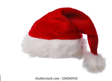 Red Santas hat against white background