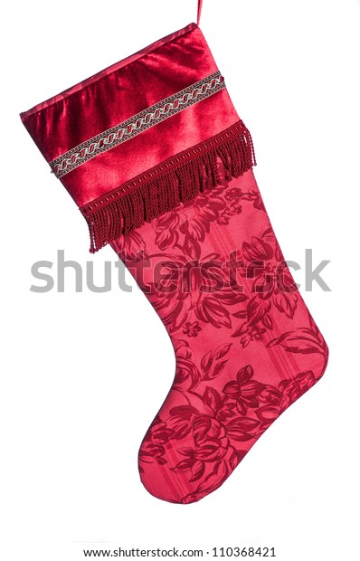 Victorian Christmas Stockings.Red Satin Bead Fringe Victorian Christmas Stock Photo Edit