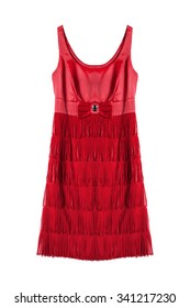 Red satin dress with fringe on white background