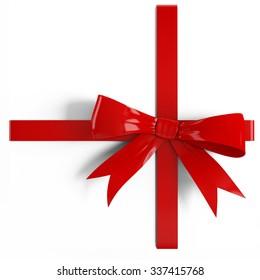 Red satin gift  ribbon on white background