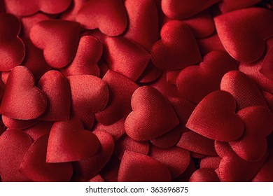 red satin hearts, valentines or wedding day background love hearts