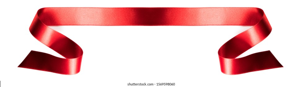 Red satin ribbon banner isolated on white background