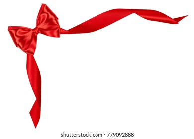 Red satin ribbon bow with ribbons with shadow on a white background