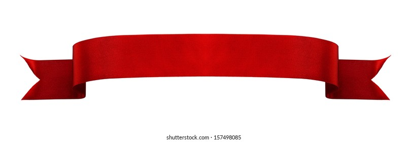 Red satin ribbon isolated on white background