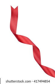 Red satin ribbon twirled in a spiral it is isolated on a white background