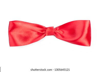 Red satin tie bow isolated on white background