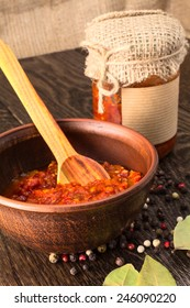 red sauce in the plate still life on the desk