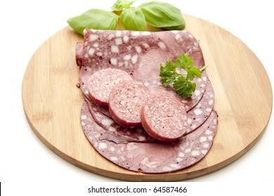 Red sausage and salami