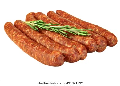 Red Sausages Made Of Chorizo Mince In Natural Casing From Intestines In A Heap Isolated On White Background, Cookout Food For Grilling Or Barbecuing, Top View, Close Up
