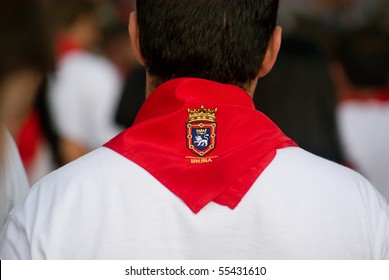 Red scarf in the crowd at the San Fermin Festival Pamplona
