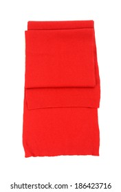 Red scarf isolated on white background.