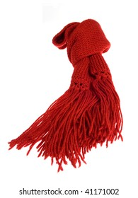 A red scarf of wool isolated over white background