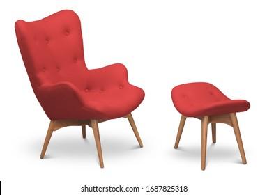 Roter Sessel, Sessel mit Schals und kleiner Stuhl für die Beine. Moderner Designer-Sessel auf weißem Hintergrund. Textilsessel und -stuhl. Möbelserie
