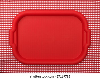 Red School Lunch Serving Tray / Plate isolated on red and white checkered background