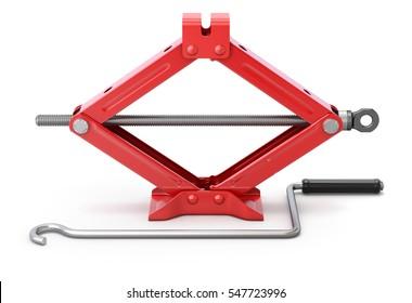Red scissor jack (car lifter) on white background - 3D illustration