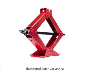 Red scissor jack shot on white