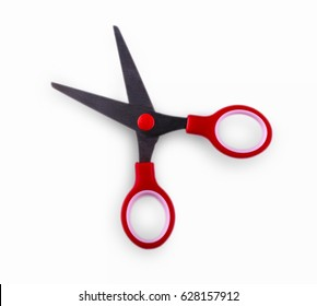 Red scissors on a white background