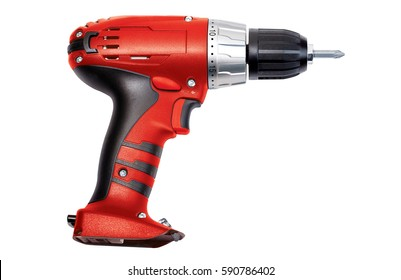 Red screwdriver on a white background