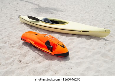 Red Sea bob and kayak on the beach. SeaBob: The World's Fastest Underwater Scooter. Water sports