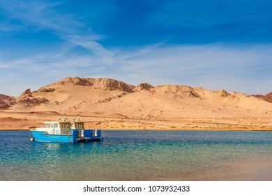 Red sea coast shore in the Ras Mohammed National Park. Famous travel destionation in desert. Sharm el Sheik, Sinai Peninsula, Egypt.