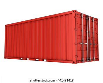 Red sea container. 3d illustration. Isolated on white