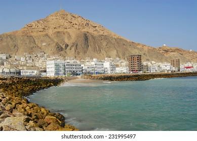 Red sea shore in Al Mukalla, Yemen.