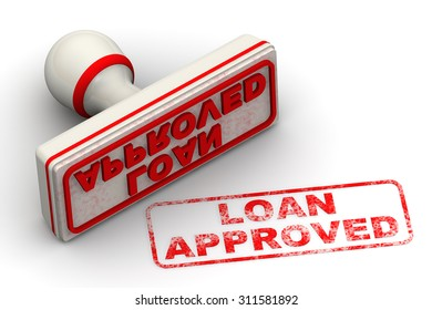 """Red seal and imprint """"LOAN APPROVED"""" on white surface"""