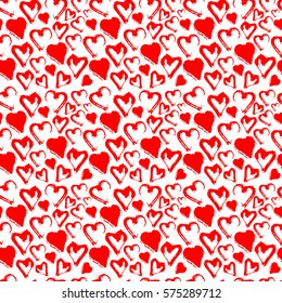Red seamless heart pattern isolated on white. Watercolor background. Valentine`s day wallpaper.