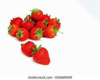 Red seasoning bunch of strawberries isolated on white