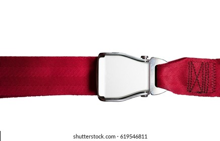 red seat belt in airplane isolated on white background .