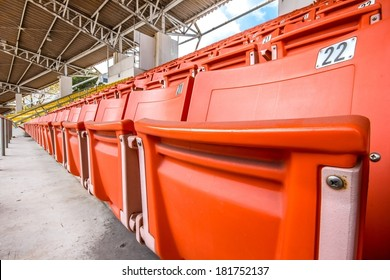 Red seat in stadium for watching the match