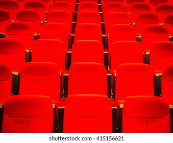 Red seats in concert hall