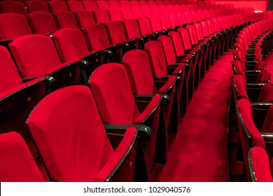 Red seats in a empty theater and opera