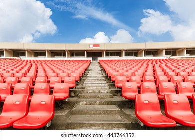 Red seats in the stadium