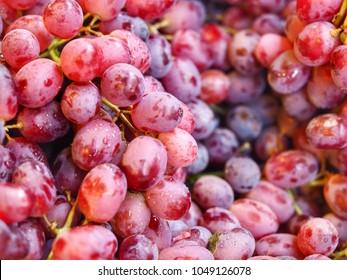 Red seedless Grapes texture in market for nature background.