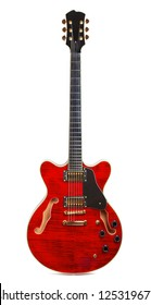 red semi-hollow electric guitar isolated on white background