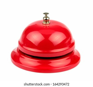 Red service bell on white background.