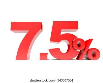 Red seven point five percent off. Discount 7.5 percent. 3D illustration.