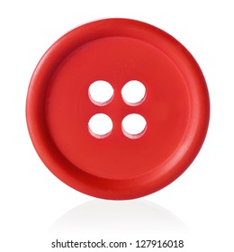 Red sewing button isolated on white