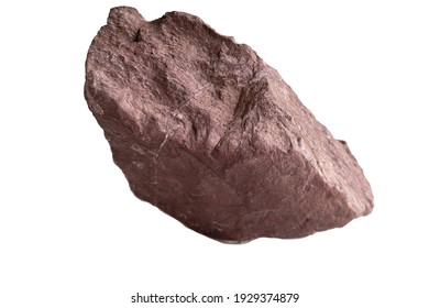 Red shale isolated on white background.  fine-grained sedimentary rock that forms from the compaction of silt and clay-size mineral particles.